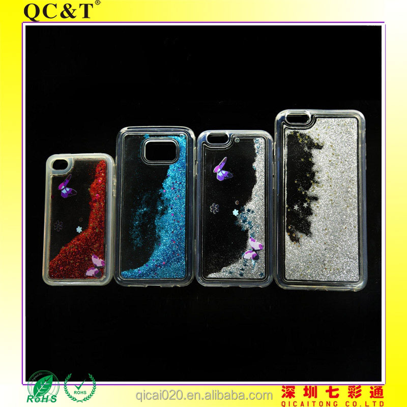 pouch case TPU+PC Case Quicksand Liquid Hard Cover Case for SAMSUNG S6