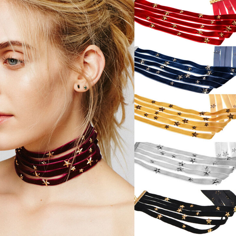 2017 New Fashionable Velvet Star Choker Necklace Layered Choker