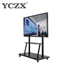 Portable 55 inch 10 points touch screen interactive whiteboard with wheels