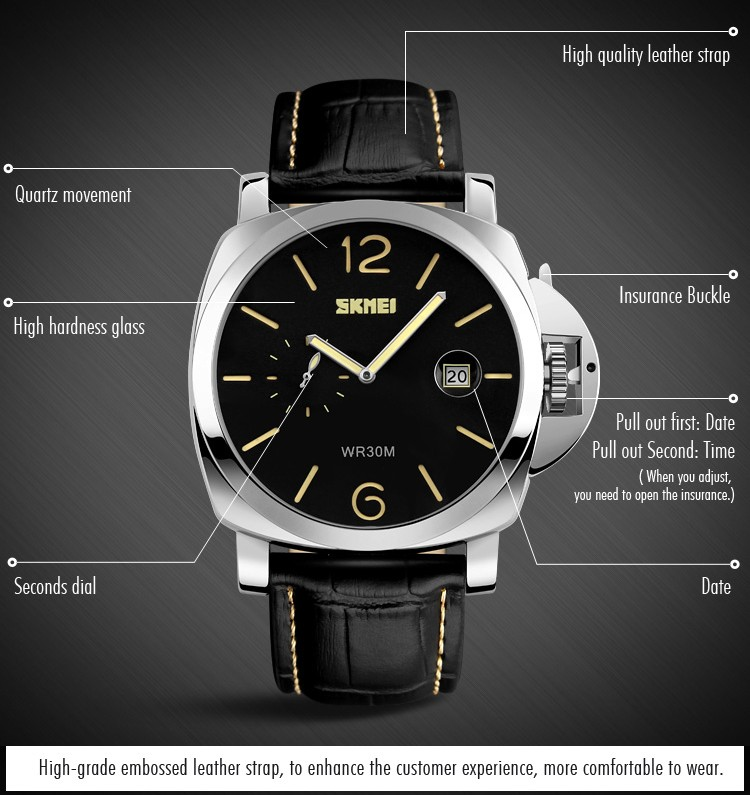 Real Leather Strap Business Style Men Famous Top Branded Watch