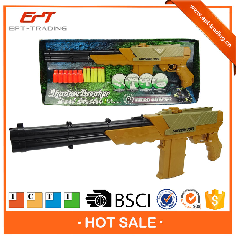Soft air shooting gun toys with 6pcs soft foam bullets
