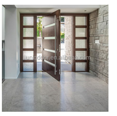 Solid wooden exterior door with side lite