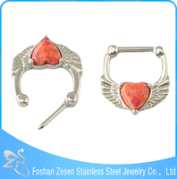 Factory wholesale 16g pierced nose ring fashion single heart opal septum ring