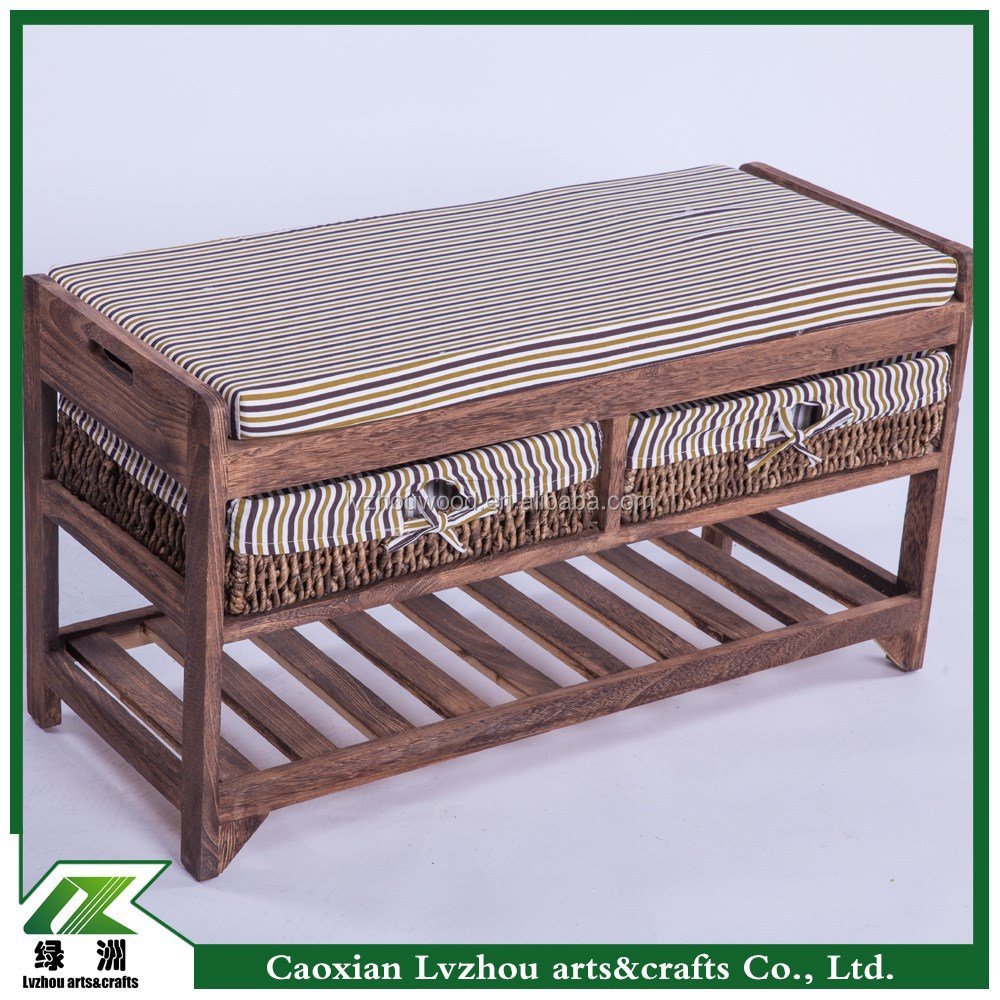 pastoral solid wood furniture shoe rack bench,wood bench