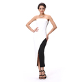 Sleeveless Off Shoulder Front Split White Black Long Party Evening Dress