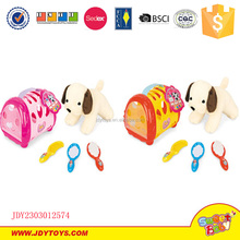 Pet basket with plush staff dog pet with brush toy playing set