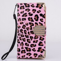 2015 Customize Bling Leopard Flip Cover Leather Mobile Phone Case For Lenovo S660 Low MOQ