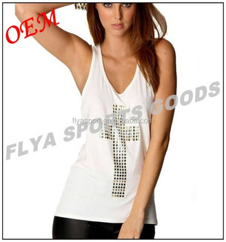 European style white cotton women's loose vest tops