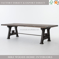 american industrial style reclaimed wood top metal leg cast iron dining table