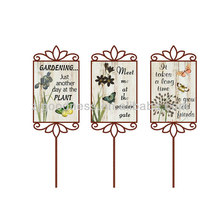 Spring wood metal decorative word saying stakes garden ornaments