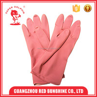 Pink flock- lined latex cleaning household gloves