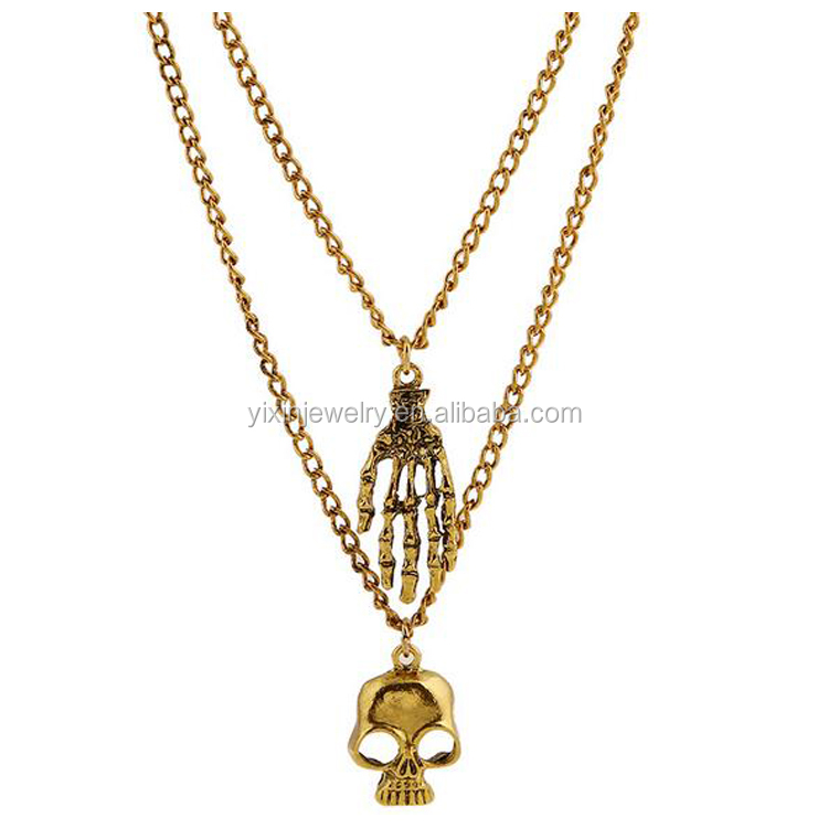 Stylish Dual Alloy Skull Pendant Necklace