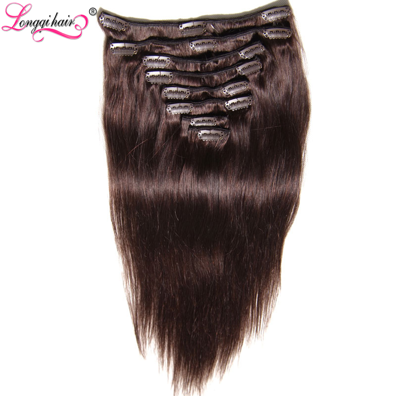 2# 4# Black Color100% Unprocessed Remy Human Hair Wholesale Brazilian Straight Hair Clip In Hair Extension