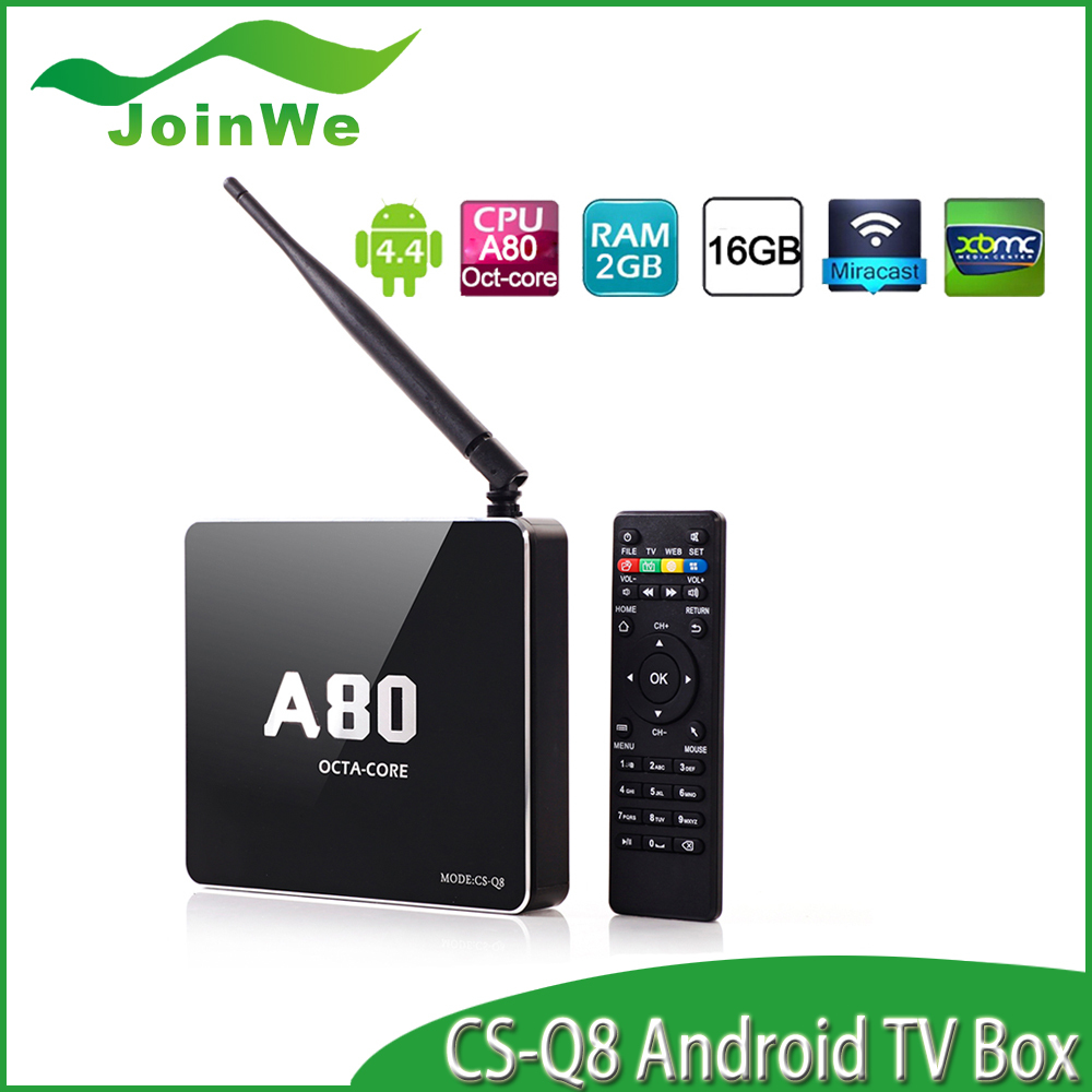 CSQ8 4G/32G 802.11ac 2.4G/5GHz WiFi 4K*2K H.265 SATA Smart TV Linux RJ45/DLNA/Miracast,A80 Octa Core Android TV BoX