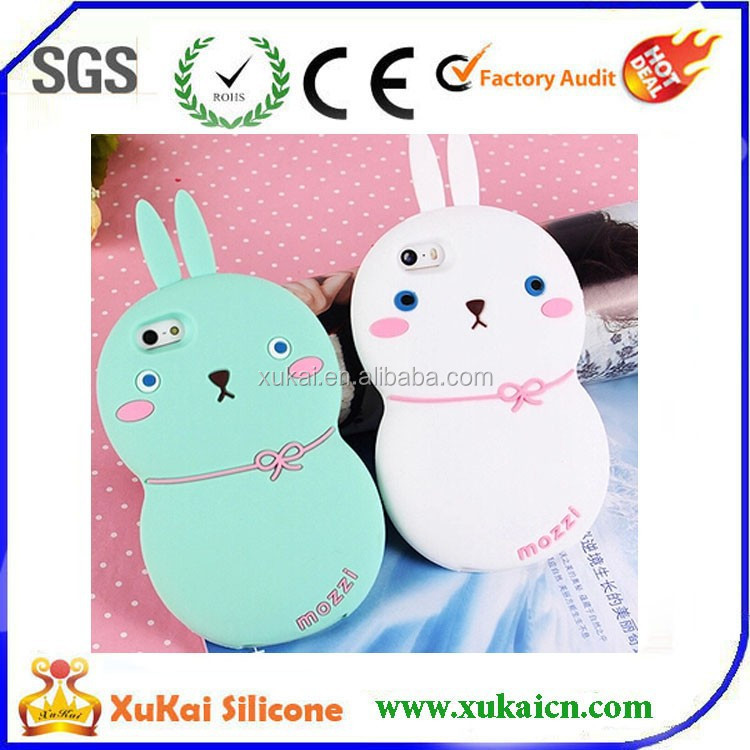custom multi-color fat rabbit 3D silicone mobile phone case