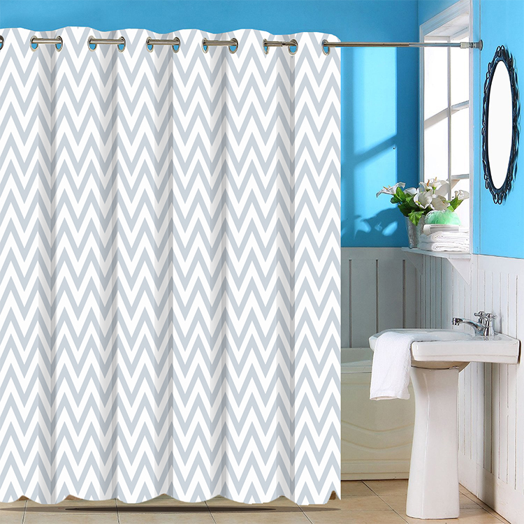 Jacquard hookless hotel stripe beige polyester shower curtain