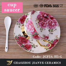 origin factory wholesale 200ML arabic style of fine bone china coffee tea cup and saucer ceramic tea coffee cup set for gift