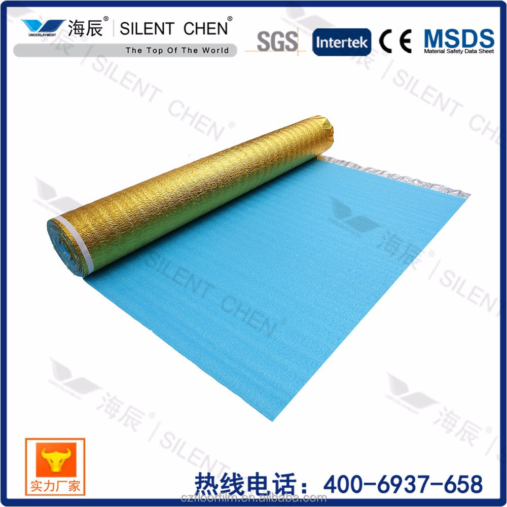 Blue EPE foam carpet acoustic underlay with aluminium film