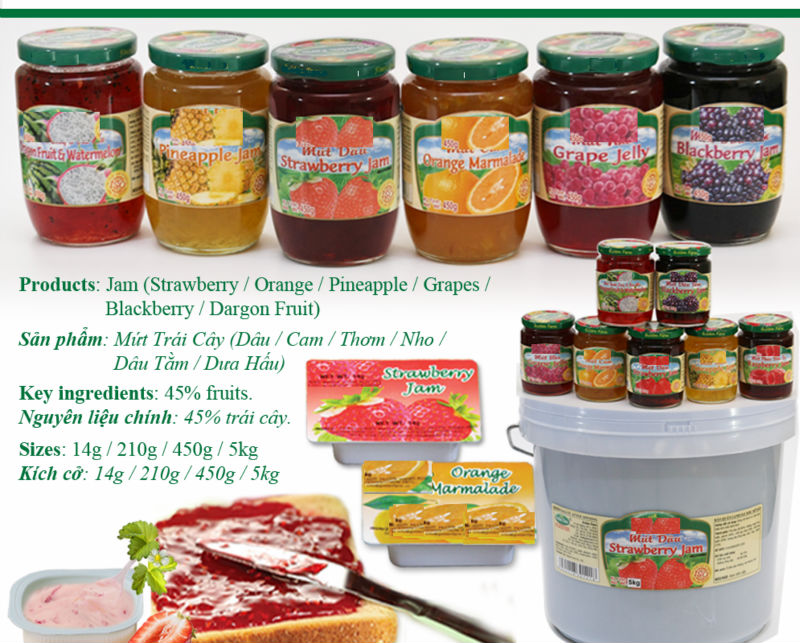 (Strawberry/ Pineapple/Grapes/ Blackberry/ Dragon Fruit Flavour Jam FMCG products