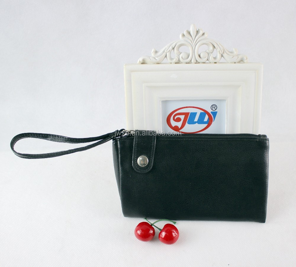 Customized Women Wallet Portable Card Bag Black Color Purse