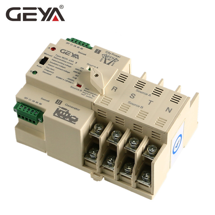 GEYA Din Rail Dual Power 3 Phase Automatic Transfer <strong>Switch</strong> ATS 63A Generator Changeover <strong>Switch</strong>