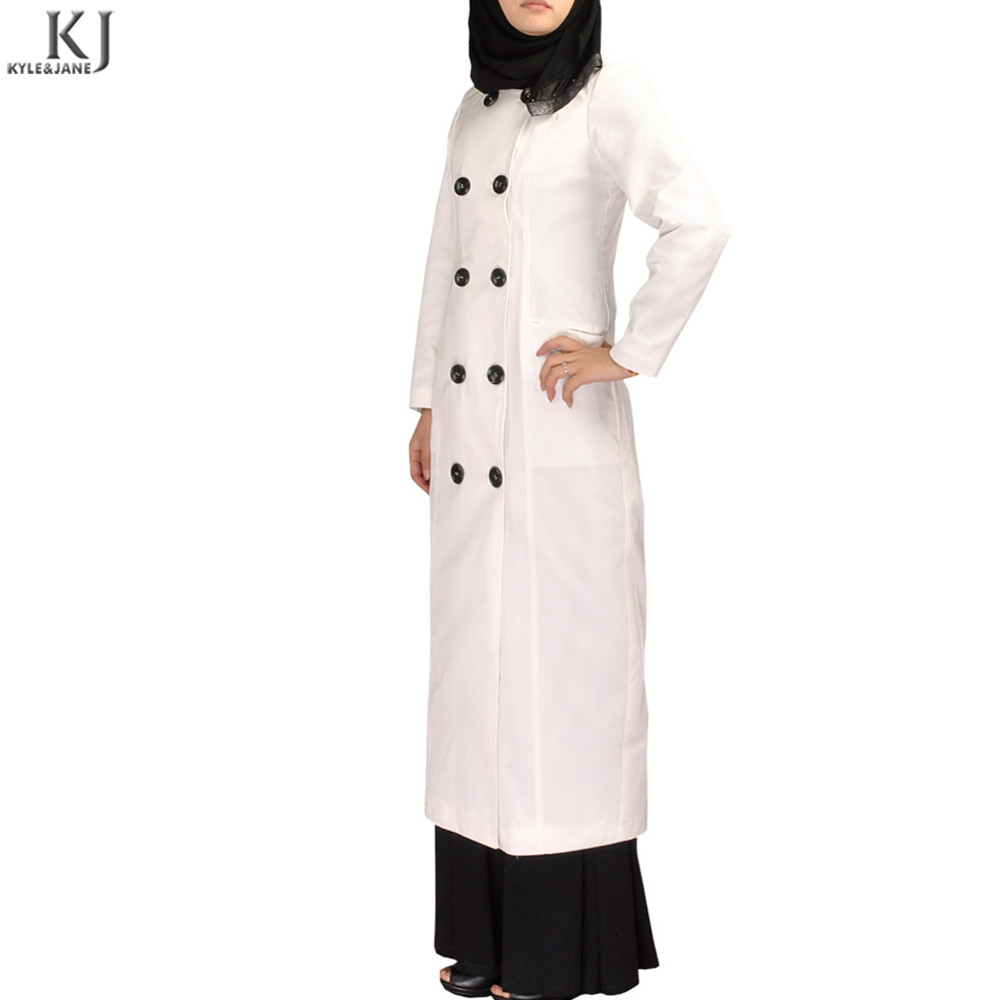 White office abaya style long muslim coat islamic clothing dress double-breasted ankle-length suit dress