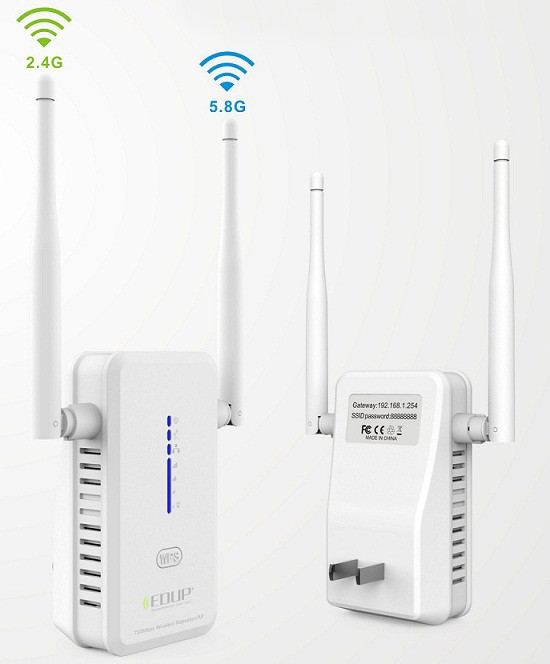 Manufacturer EP-2931 Long Range Strong Signal Dual Band Wifi Repeater Wifi Extender With 2*3dBi Antenna