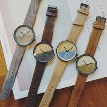 New Arrival Design Wood Grain Watches Simple Wooden Vintage Female Clock Wrist Watch Relogio