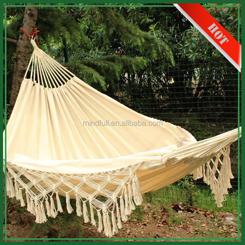 Wholesale Cheap Custom Linen Cotton Camping Outdoor Hammock with Macrame