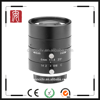 "High Resolution FA lens 5 MP 2/3"" sensor 6mm C mount Machine vision lens For Industrial Machine"