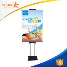 Free Samples Double Sides Displayed Telescopic Metal Display Stand Rotating Poster Standee