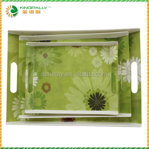 Best sales melamine nice serving trays with handles for bar hotel and restaurant