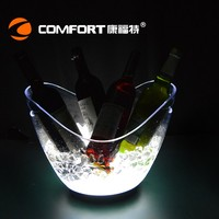 Clear V shape plastic LED acrylic ice bucket