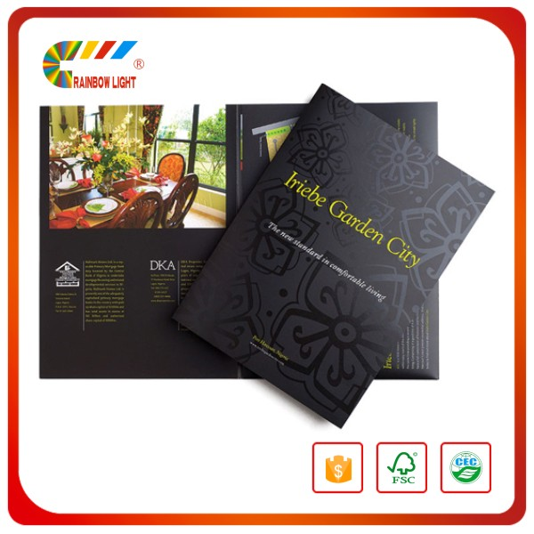 Art paper film lamination embossing A4 folder printing service