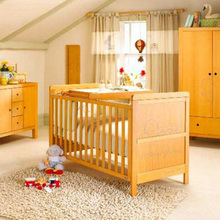 Low price modern carved teak wood baby swing cradle bed