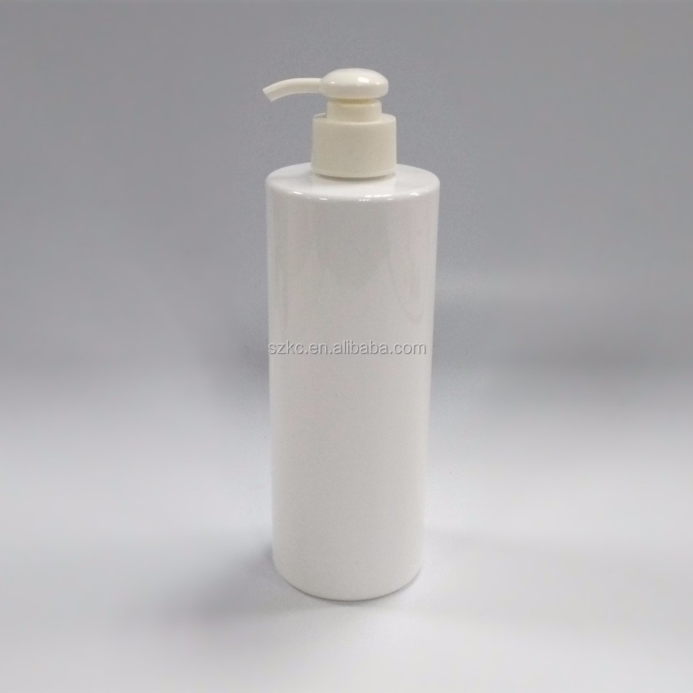 500ml white plastic PET shampoo bottle with lotion pump