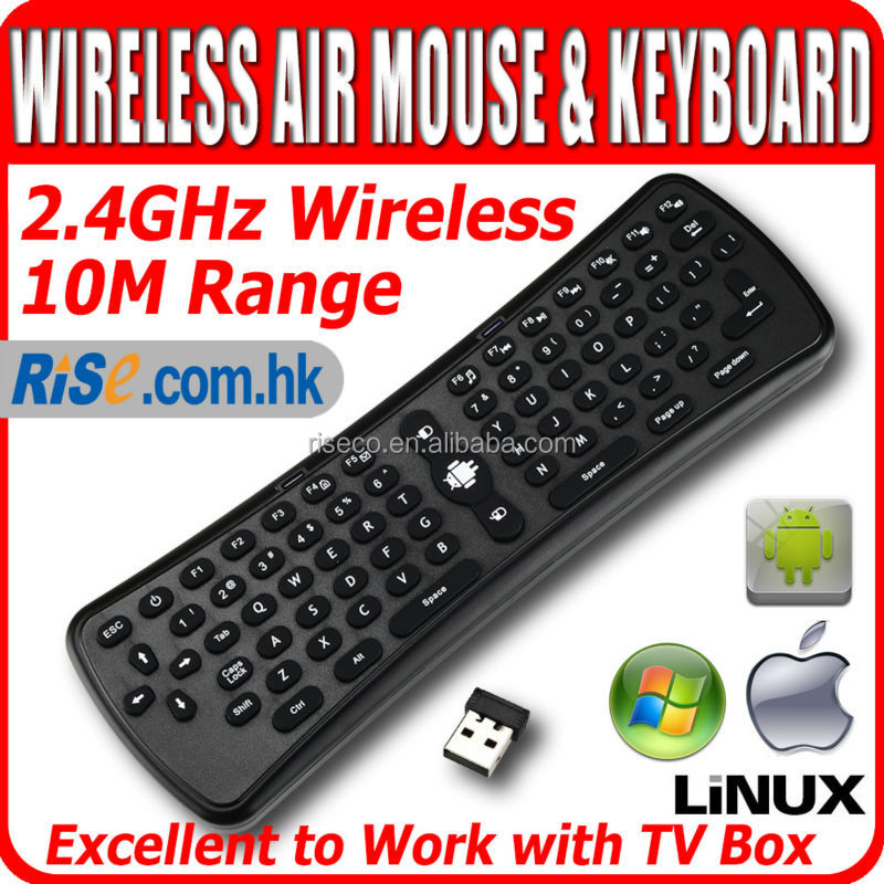 Wireless 2.4G Air Mouse Qwerty Keyboard for Remote mini Android TV box Gyroscope