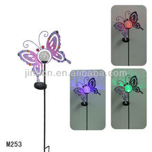 Purple Metal butterfly Solar Stake Light with 7-color LED crackle glass ball