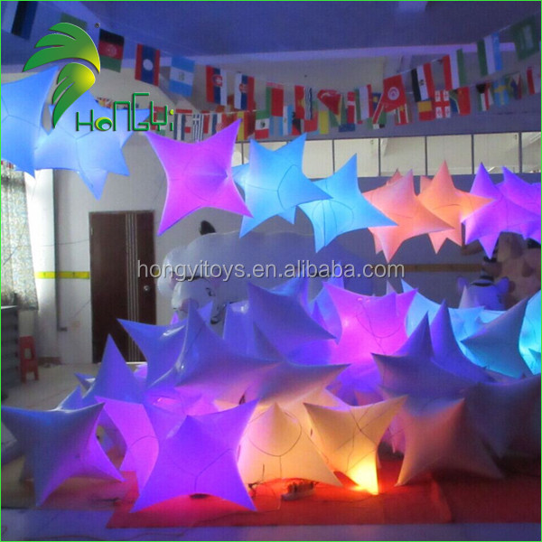 Beautiful Colorful LED Design 1M PVC Pretty Decorate Display Inflatable RC Light Up Stars Balloon