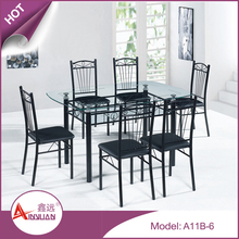 Dining room furniture latest simple design modern cheap 6 seater black clear glass dining table with chairs