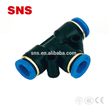 SNS brand SPE Series plastic 3way Union Pipe fitting, tee joint tube connector