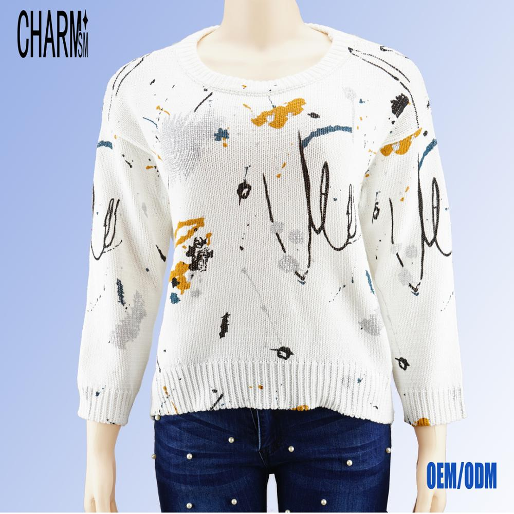 custom printing long sleeve pullover women's fashionable christmas sweater print custom made sweater