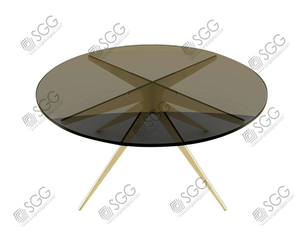 12mm thick tempered glass top rotating dining table