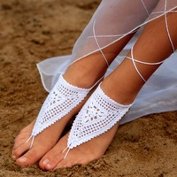 Crochet Barefoot Sandals Wedding Beach Shoes Footless Sandals with Stylus White