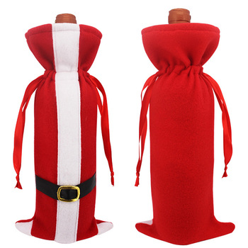 Christmas Wine Bottle Covers Newest Christmas Party Kit Santa Red Wine Bottle Dress for Xmas Gift Holiday Party Favors Supplies