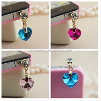 Wholesale Heart Shaped Diamond Dustproof Plugs Cell Phone Accessory