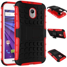 Wholesale PC +TPU Tire Pattern Kickstand Defender Case for Motorola Moto G (3rd Gen.)