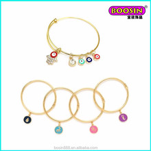 Wholesale tinny colorful enamel evil eye charms 18 gold circle wire bracelet adjustable bangle #31446