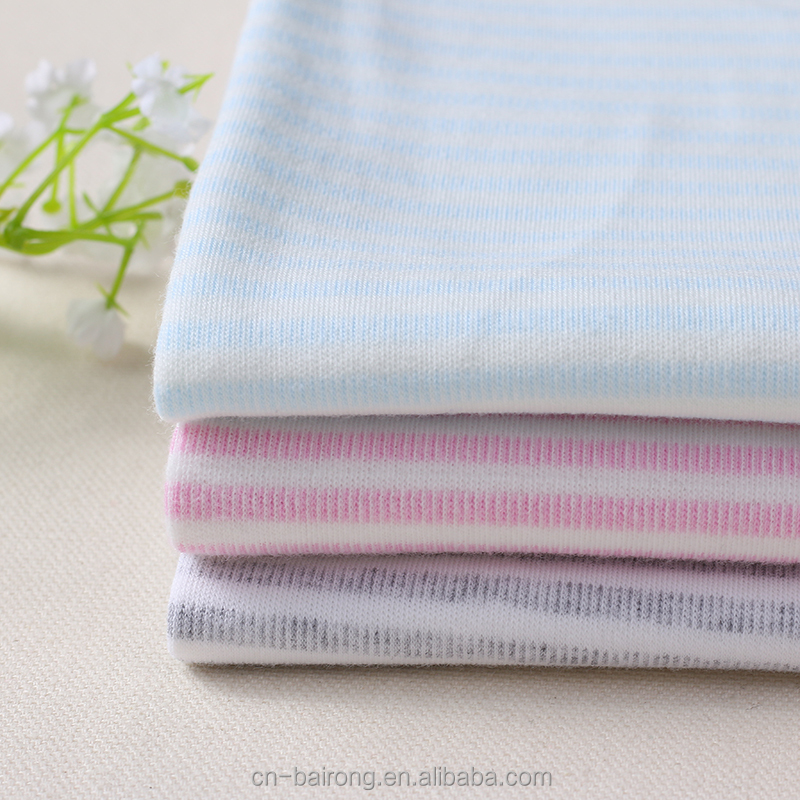 Factory direct baby clothing textile combed 100% cotton lycra interlock knit fabric