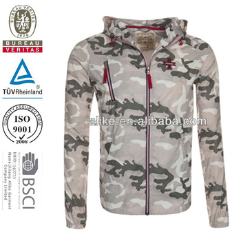Mens high quality lightweight outdoor clothing camo printed jacket with camouflage jacket men